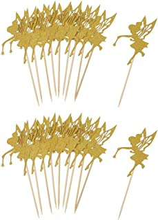 D DOLITY 20 X Glitter Paper Fairy Style Cupcake Picks for Birthday Party Decoration