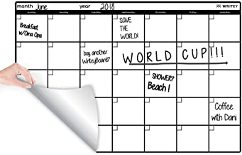 WriteyBoard Restickable Monthly Calendar Whiteboard Sticker Large 2x3 Foot Foam Layer for Smooth Writing on Walls