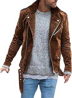 Keaac Men Moto Bomber Biker Jacket Faux Leather Coat