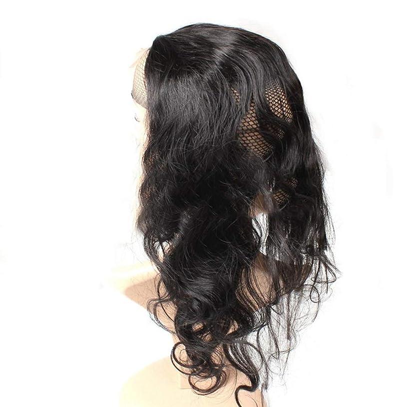 おもしろい手のひら休憩するHOHYLLYA 人間の髪の毛のかつら360レース前頭かつらブラジルのバージンヘアエクステンション実体波フルレースのかつら黒人女性用(8インチ-22インチ、225密度)パーティーかつら (色 : 黒, サイズ : 22 inch)