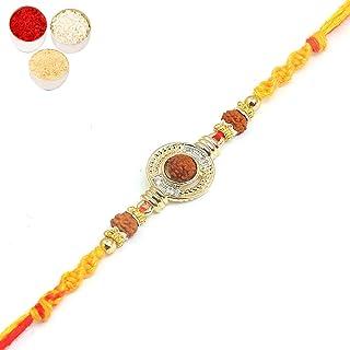 5595 Rudraksh Pearl Bracelet Rakhi Ghasitaram Gifts Rakhi for Brother Rakhis Online