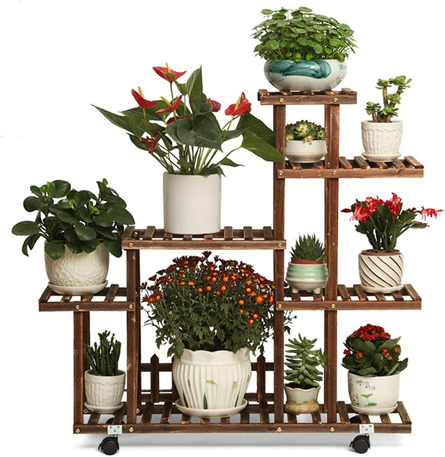 Wooden Plant Racks Indoor and Outdoor Multi-Pot Racks for Stairs Balcony Garden Patio Corner Pots Display Stand Decoration Art