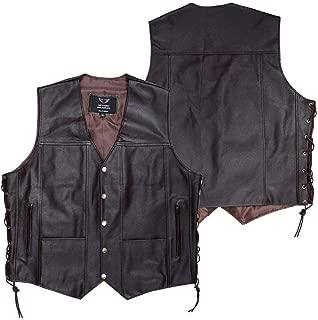 JAYEFO Leather Vest (8XL, Brown)