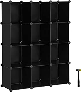 SONGMICS Modular Storage Unit, Cube Storage, Storage Cabinet, Easy to Assemble, for Living Room, Closet, Office, Includes Rubber Mallet, Black ULPC34BK