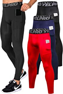 Lavento Men's Compression Baselayer Leggings Moisture-Wicking Pocket Active Tights