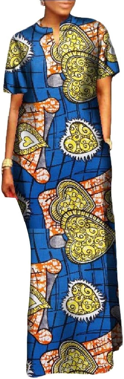 Mfasica Womens Flower Dashiki PlusSize Slimming Curvy African Maxi Dress