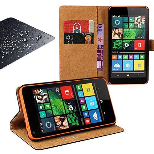 Eximmobile Book Case Handytasche + Panzerfolie für Microsoft Lumia 550 | Schutzhülle Schwarz mit Kartenfächer aus Kunstleder Handyhülle Echt Glasfolie Schutzfolie Displayschutzfolie Folie Etui Cover