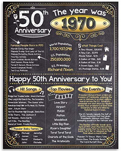 Happy 50th Anniversary (Fifty, 50) - Year 1970-11x14 Unframed Art Print - Perfect Gift and Party Decoration Under $15