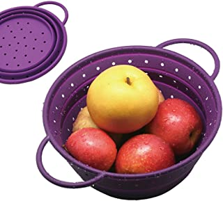 "OILP Safe Silicone Collapsible Colander/Strainer/Fruit Basket/Portable Storage for Kitchen/Outdoor/Travel-8.5"" (4 Quart),Easy to Carry and Store (Small, Purple)"