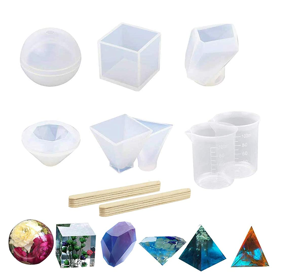 6 Pack Resin Casting Molds Large Clear DIY Silicone Resin Jewelry Craft Molds,Sphere|Cube|Diamond|Pyramid|Triangular Pyramid|Stone Shape Molds for Polymer Clay,Jewelry Making,with Mixing Cups&Sticks