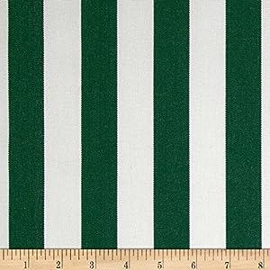 Sunbrella Outdoor Canvas Mason Stripe Fabric, Forest Green
