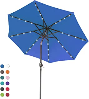 ABCCANOPY Patio Umbrella Ourdoor Solar Umbrella LED Umbrellas with 32LED Lights, Tilt and Crank Table Umbrellas for Garden, Deck, Backyard and Pool,12+Colors, (Navy Blue)