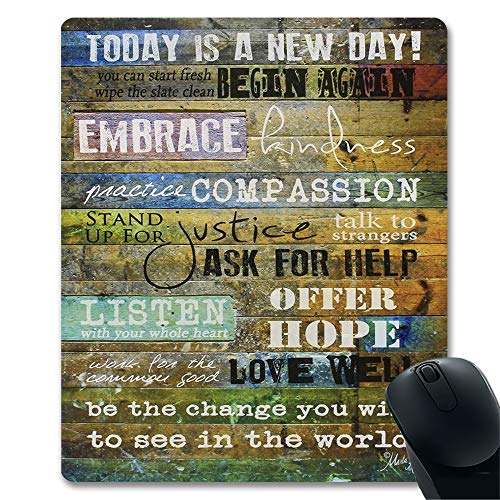 Today is a New Day Inspirational Quotes Wood Wall Art Print Unique Design Decorative Gaming Mouse Pad