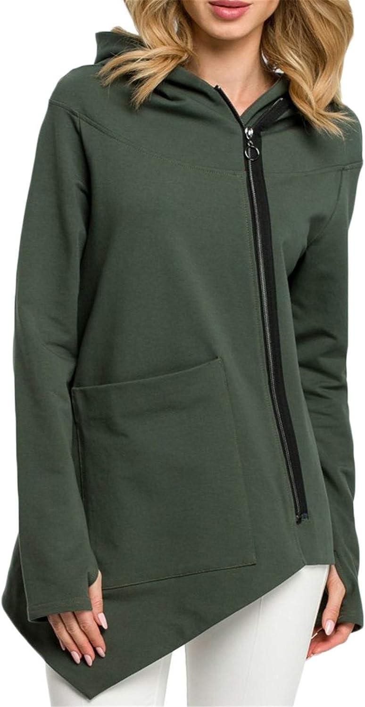 Andongnywell Women Coat Winter Casual Oblique Zipper Hoodie Jacket Coats Irregular Pocket Jackets Outwear