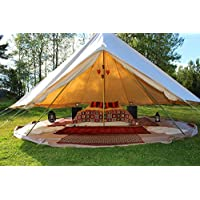 Cozy House Outdoor Waterproof Four Seasons Family Camping Cotton Canvas Bell Tent with Meshed Door and Windows