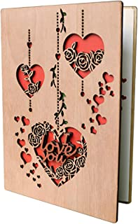 I Love You Heart Wooden Greeting Cards Anniversary Gifts Valentine's Day Wedding Christmas Birthday Present, Blank