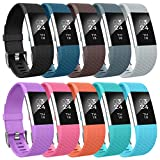 AIUNIT Compatible with Charge 2 Bands Applicable for Charge 2 Accessories Bands Large Stylish to Coordinate with Daily Outfits for Women Men Boys Girls(10 Pack)