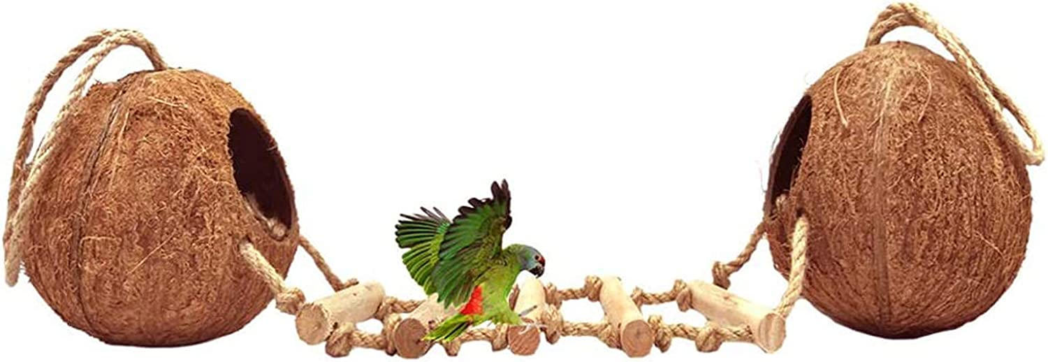 Tfwadmx Natural Coconut Hide with Genuine Free Shipping Hanging Max 74% OFF Ho Ladder Bird Perches