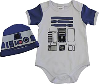 R2D2 Inspired Baby Onesie and Hat Bundle Outfit (0-3 Months)