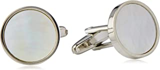 BUCKLE 1922 Men's Round Mother of Pearl Cufflinks, Nickel Brushed, One Size