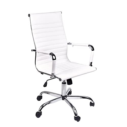 White office decors Beautiful Elecwishadjustable Office Executive Swivel Chair High Back Padded Tall Ribbed Pu Leather Amazoncom Black And White Office Decor Amazoncom