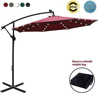 ABCCANOPY 10 FT Solar Powered LED Patio Outdoor Umbrella Hanging Umbrella Cantilever Umbrella Offset Umbrella Easy Open Lift 360 Degree Rotation with 32 LED Lights (Burgundy)