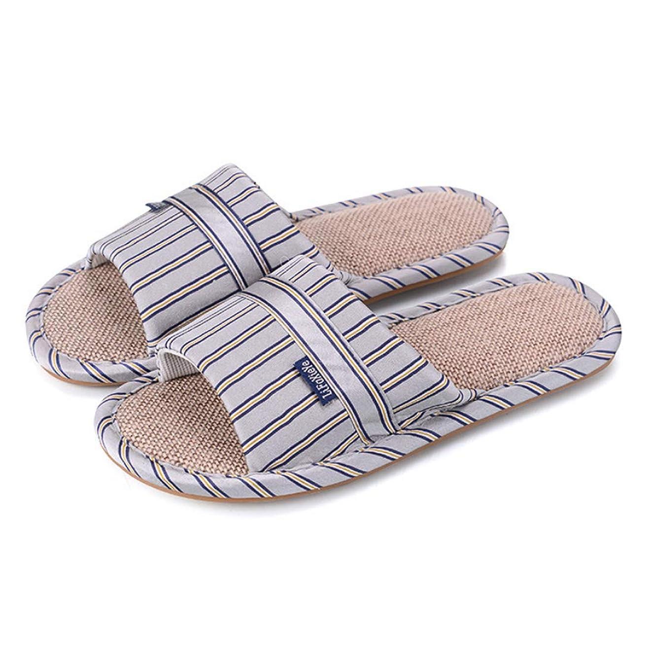 釈義偏見一目[Inlefen] ファッションの男性と女性のカップルbowknotストライプのデザインノンスリップ耐久性のある唯一の屋内の家のスリッパオープントゥ通気性の靴