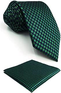 "Shlax&Wing Mens Necktie Pocket Square Set 57.5"" 63"" Extra Long Silk Tie Hanky"