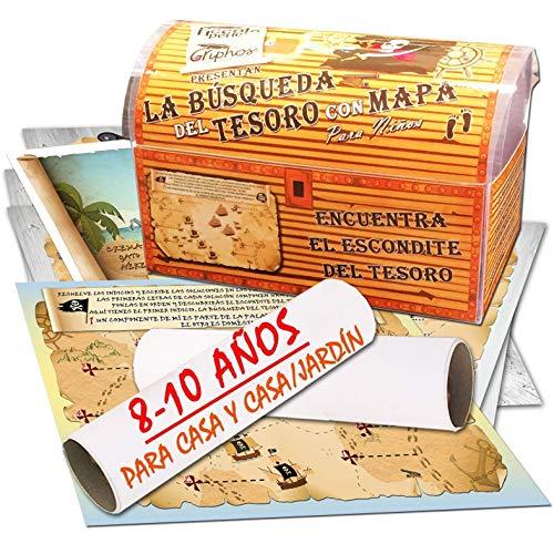 Búsqueda del tesoro con mapa para casa y casa/jardín – 8-10 años - para fiestas de cumpleaños – juegos para niños