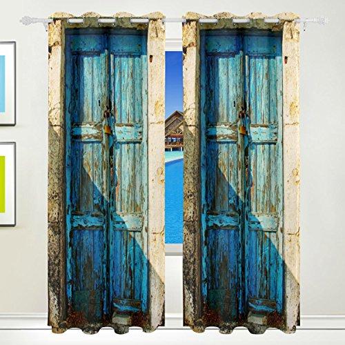 mydaily Alten Tür der griechischen Inseln Vintage Thermische isoliert, Blackout Tülle Fenster Vorhänge für Wohnzimmer Schlafzimmer 2Felder Behandlungen Home Decor 139,7x 213,4cm