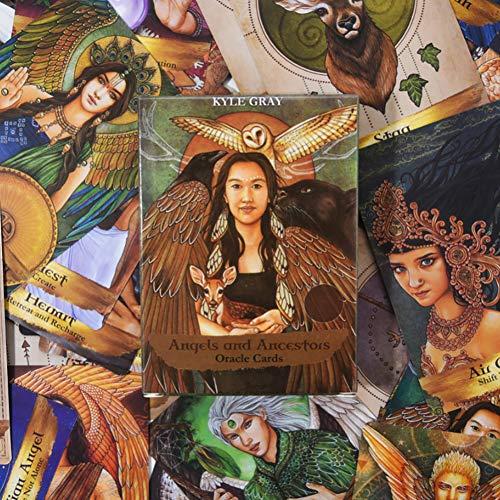Stecto 55pcs Cartas de Tarot, ángeles y antepasados ??Oracle Cards, Vintage Tarot Card Fuera de Serie Impresa para la Fiesta Familiar de Regalos (edición en inglés)