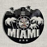 Reloj De Pared De Vinilo Disco De Pared De Vinilo para Arquitectura De La Ciudad De Miami Decoración Moderna Y Vintage-sin luz led