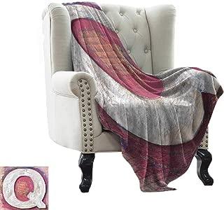 Dog Blanket Letter Q,Shabby Uppercase Letter Q Alphabet Artwork Wooden Symbol Design Print,Pink Violet Blue White Blanket for Sofa Couch TV Bed All Season 60