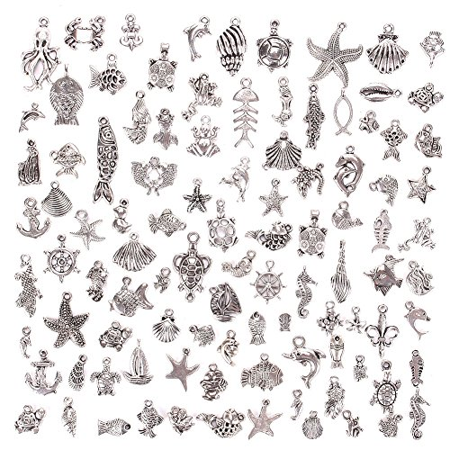 KeyZone Wholesale 100 Pieces Silver Plated Mixed Sea Animals Charms Pendants DIY for Jewelry Making and Crafting