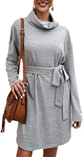 Womens Long Sleeve Turtleneck Front Pockets Party Cocktail Bodycon Midi Pencil Dress with Belt
