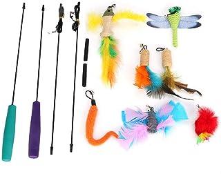 9 piezas de juguete para el gato, juego de varilla desmontable de dos secciones para gatitos de gatito Juguete interactivo para gatitos con campanas pequeñas Gatos que se rascaron los juegos de perseg