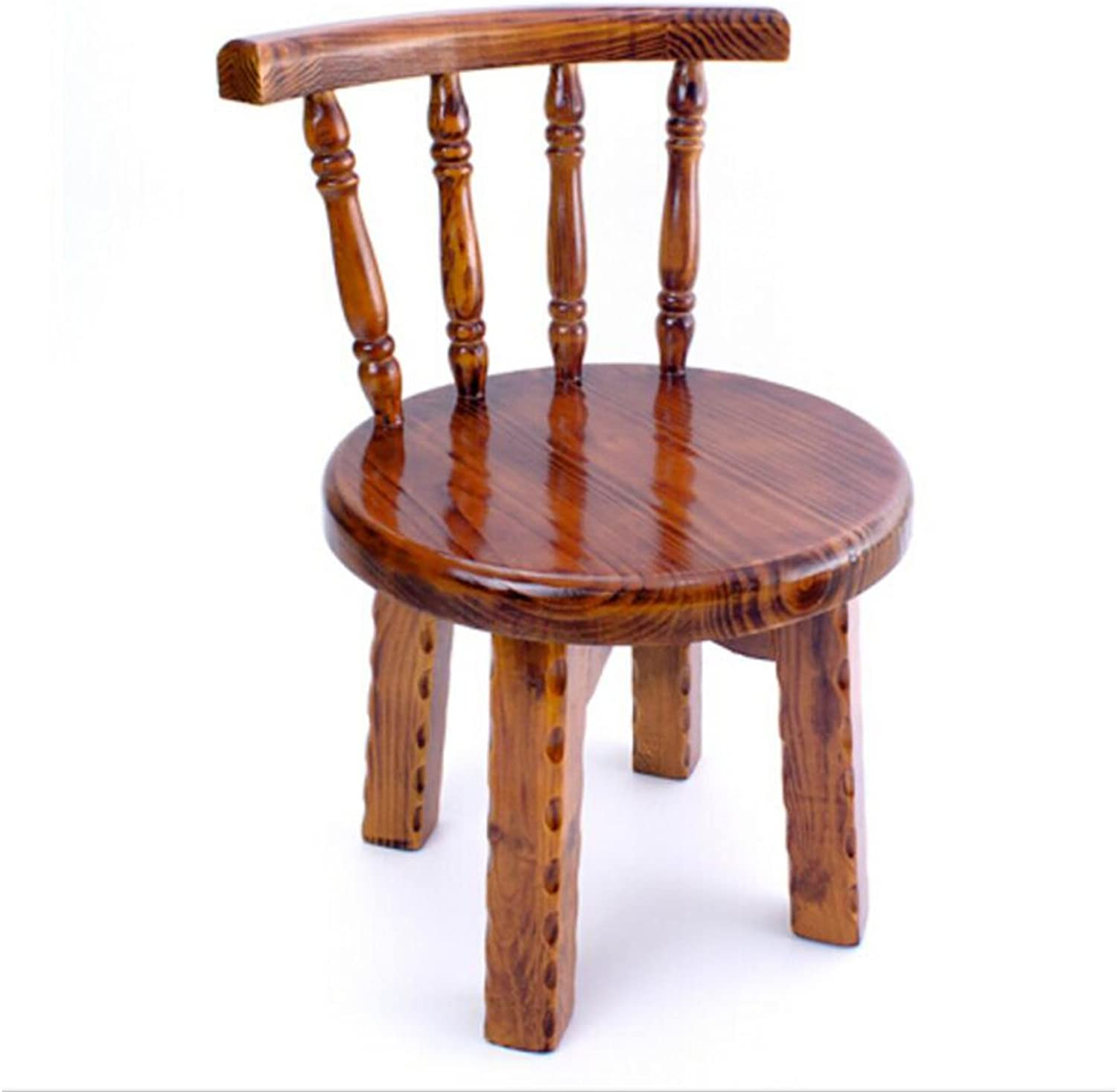 A-Fort Stylish Small Stool Small Wooden Stool backrest Solid Wood Stool Chair Household Stool Simple Low Stool Solid Wood redating Stool (color   Brown)