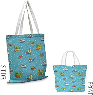 """Tote Bag Kids Colorful Cartoon Children Toy Figures Pattern Boats Planes Trains on Blue Background Coin Cash Wallet 16.5""""x14""""x6.3"""" Multicolor"""