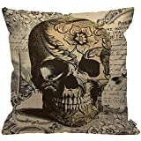 HGOD DESIGNS Cushion Cover Skull Laciness Mediaeval Style Retro Horror Throw Pillow Cover Home...