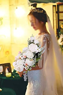 U'Artlines Bridal Wedding Bouquet Romantic Handmade Holding Flower Fake Peony Roses Pearl for Wedding Party Home Decoration (A Bouquet White)
