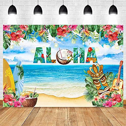 Fondos fotográficos Fondo para cumpleaños Fotografía Accesorios de Estudio Foto Tabla de Surf Mar Tropical Fiesta de verano-250x180CM
