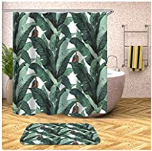 Epinki Polyester Shower Curtain Decorative Bathroom Accessories Colorful Banana Leaves Bathroom Curtain with 12 Hooks 180x...