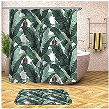 Epinki Polyester Bath Curtain Set Colorful Banana Leaves 3D Bathroom Curtain with 12 Hooks 180x200CM Shower Curtain Bathro...