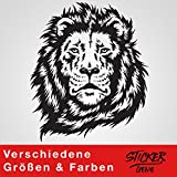 LÖWE Wandtattoo Wandaufkleber Sticker Aufkleber Löwenkopf (20 (B) x 24 (H) cm, Schwarz)