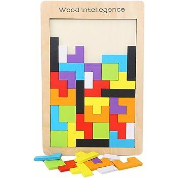 CCINEE 木製テトリスパズル ジグソーパズル 知育玩具 おもちゃ (1種類)