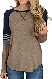 Topstype Women's Long Sleeve Color Block Tunic Tops Crew Neck Casual Shirt Striped Blouses