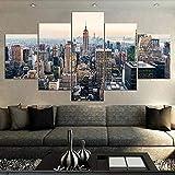 Cuadro Moderno En Lienzo 5 Piezas XXL Horizonte de rascacielos de la ciudad Nueva York centro de Manhattan NYC HD Abstracta Pared Imágenes Modulares Sala De Estar Dormitorios Decoración para El Hogar