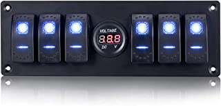 Jiaying 6 Gang Rocker Switch Panel, Waterproof Digital Voltmeter Display Switch Panel with Blue Light for RV Marine Car Vehicles Truck Boat