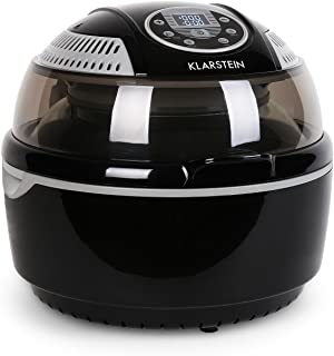 KLARSTEIN VitAir Turbo Hot Air Fryer • Reduced-Fat Frying, Baking, Grilling and Roasting • 9.6 qt Cooking Chamber • Rotisserie • 1300 Watts Halogen • Up to 450 F • Black