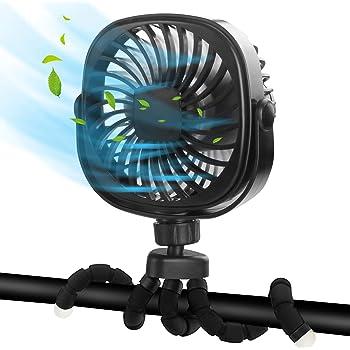 DR.PREPARE Stroller Fan, Portable Handheld Fan Battery Powered Clip On Fan Personal Desk Baby Fan with Flexible Tripod, 3 Speed Settings, 360ºRotation, USB Fan for Stroller, Camp, Car, Travel, Gym